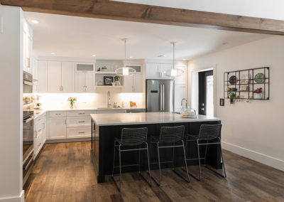Aura Custom Design, Kitchen, Custom Design, Custom Cabinets, Flooring, Architecture, White Cabinets, Black Cabinets, Kitchen Island, Lighting, Wooden Beam