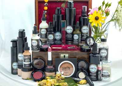 Cosmic Tree Essentials - a display of some of the products that cosmic tree essentials carry such as make-up, skincare and toiletries