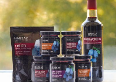 Haskap Highland Berries-Products - the full selection of products, preserves, sauces, juice and dried berries